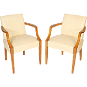 pair of Art Deco burled ash armchairs