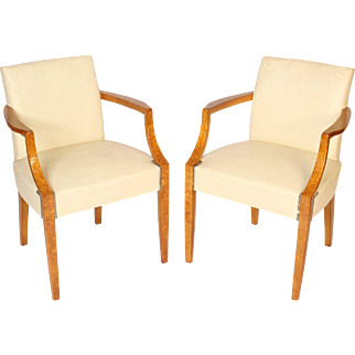 pair of Art Deco burled ash armchairs