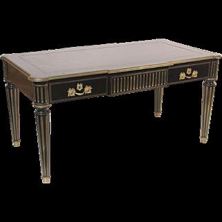 Louis XVI style black lacquer desk