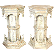 Pair of painted gothic revival pedestals