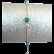 Vintage 14k Yellow Gold Turquoise Bead Chain Bracelet