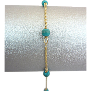 Vintage 14k Yellow Gold Turquoise Bead Chain Bracelet