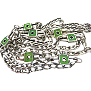Modernist Enamel Sterling Silver Italian Designer Chain Necklace
