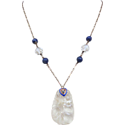 Art Deco 14k Gold Chinese Carved Quartz Rock Crystal Lapis Enamel Necklace