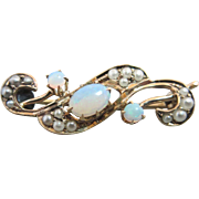 Antique 10k gold Victorian Opal Seed Pearl Brooch Pin