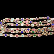 Art Deco Open Back Harlequin Paste Crystal Bezel Set Necklace