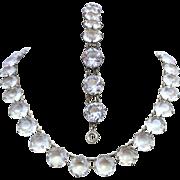 Czech Art Deco Large Crystal Open Back Necklace & Bracelet Set