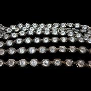 "Art Deco Sterling Silver Crystal Open Back Bezel Necklace Chain 61"" Long Heavy 96 Grams"