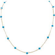 14k gold Turquoise Glass Bead Necklace