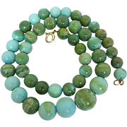 Vintage Natural Turquoise Gemstone Beaded Necklace