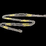 Art Deco Sterling Silver Yellow Enamel Watch Chain Necklace