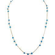 14k Gold Turquoise Glass Bead Necklace Chain