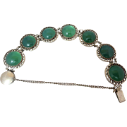 Art Deco Sterling Silver Genuine Green Chrysoprase Gemstone Japan Open Back Bracelet
