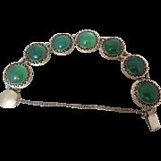 Art Deco Sterling Silver Genuine Green Chrysoprase Gemstone Japan Open Back Bracelet