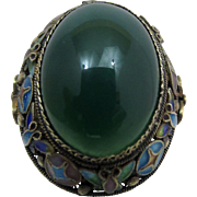Art Deco Sterling Silver Enamel & Genuine Green Chrysoprase Gemstone Japan Ring Adjustable
