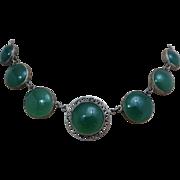 Art Deco Sterling Silver Genuine Green Chrysoprase Gemstone Japan Open Back Necklace