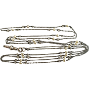 """Antique Sterling Silver Open Back Bezel Set Pearl Paste Crystal Muff Guard Chain Necklace 46"""""""