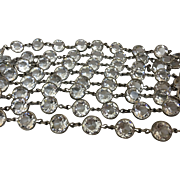 "Art Deco Rhodium Plated Huge Crystal Open Back Bezel Set Necklace 61"" Long"