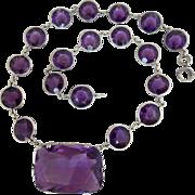 Art Deco Sterling Silver Amethyst Glass Crystal Open Back Bezel Pendant Necklace