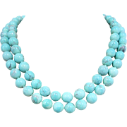 Turquoise Agate Gemstone Beaded Necklace
