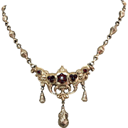 Antique Victorian 14k Gold Garnet Seed Pearl Pendant Necklace