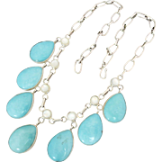 Sterling Silver Sleeping Beauty Turquoise Mother of Pearl Etta Endito Navajo Festoon Drop Necklace