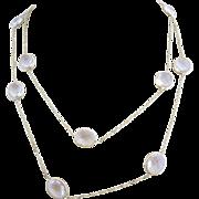 14k Gold Quartz Rock Crystal Open Back Bezel Set Necklace Chain
