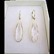 14k Gold Quartz Rock Crystal Open Back Bezel Earrings Pierced