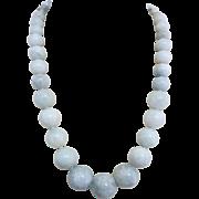 Vintage Aquamarine Gemstone Bead Necklace 10k White Gold Clasp