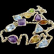 14k Gold Italian Multi Gemstone Amethyst, Citrine, Topaz, Peridot Open Back Bezel Set Necklace
