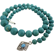 Turquoise Gemstone Beaded Necklace 14k Gold Clasp