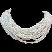 Natural Pearl 10 Multi Strand 14k Gold Torsade Opera Length Necklace