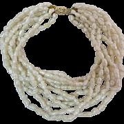 Pearl 10 Multi Strand 14k Gold Torsade Bracelet
