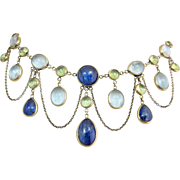 Antique Victorian 14k Gold  Aquamarine Peridot Kyanite Multi Gemstone Festoon Drop Necklace over 30cts