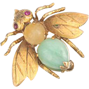 14k Gold Citrine , Ruby and Jade Bug Fly Brooch Pin