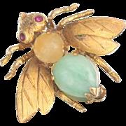 14k Gold Citrine , Ruby and Jade Bug Fly Brooch Pin