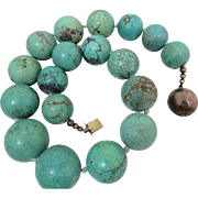 Old Mine Sterling Silver Chinese HUGE Turquoise Gemstone Beaded Necklace 272 grams