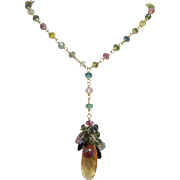 14k Yellow Gold Tourmaline , Citrine Multi Briolette Gemstone Lavaliere Pendant Necklace