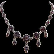 Antique Victorian Bohemian Garnet Gemstone Cluster Drop Necklace