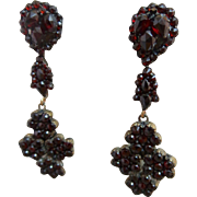Antique Victorian Bohemian Garnet Gemstone Cluster Drop Earrings