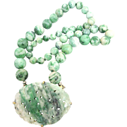 Art Deco Chinese Carved Jade Beaded Pendant Necklace