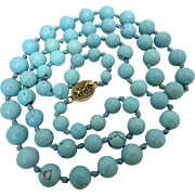 Old Chinese Persian Turquoise Beaded Sterling Silver Necklace