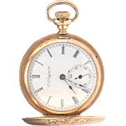 Antique Victorian 14k Gold Elgin Hunter Case Pocket Watch