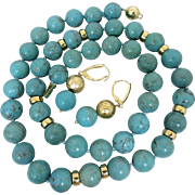 14k Gold Persian Turquoise Beaded Gemstone Necklace Earrings Set
