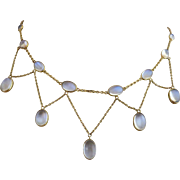 Antique European Victorian 9k Gold Glowing Moonstone Festoon Necklace