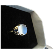 14k gold Glowing Moonstone Sapphire Ring