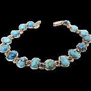 Antique Victorian Turquoise 9k 9ct Rose Gold Bracelet