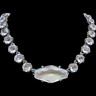 Antique Edwardian Riviere Paste Crystal Open Back Pendant Necklace