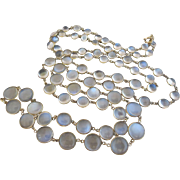 Antique Edwardian 10k Gold Glowing Moonstone Bezel Set Necklace