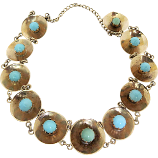 Antique Victorian Persian Natural Turquoise 10K Gold Bracelet